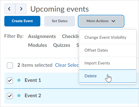Example of the delete action in the more actions menu
