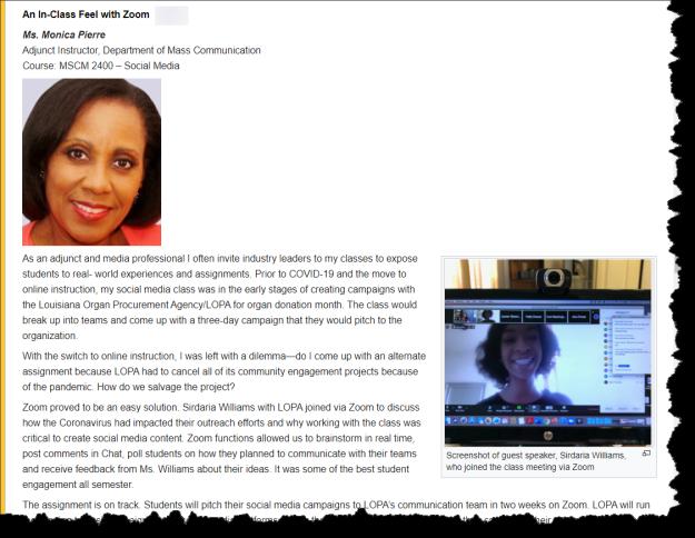 screenshot of Ms. Monica Pierre's educator share story