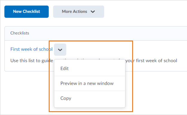 Example of the copy option as it appears in the drop-down menu for a checklist
