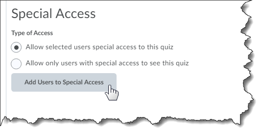 Example of special access for an exam