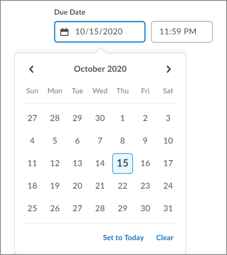 New date picker component on the Create and Edit Assignments page