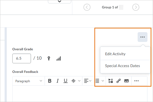 The new context menu appears when grading a submission in the New Assignment Evaluation Experience