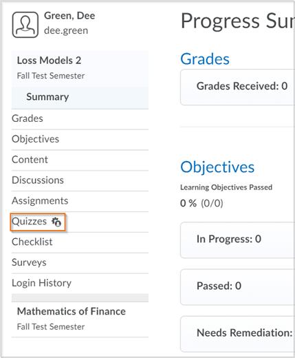 The User Progress screen (Classlist>User drop-down menu > User Progress)