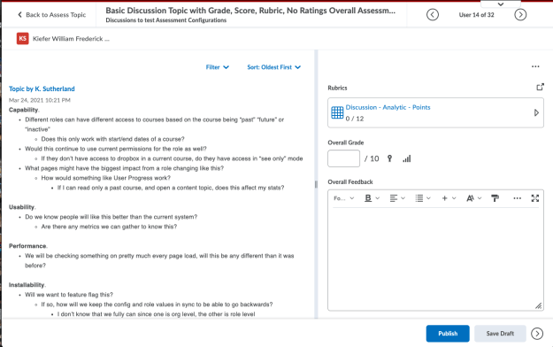 Example of the new discussion evaluation screen
