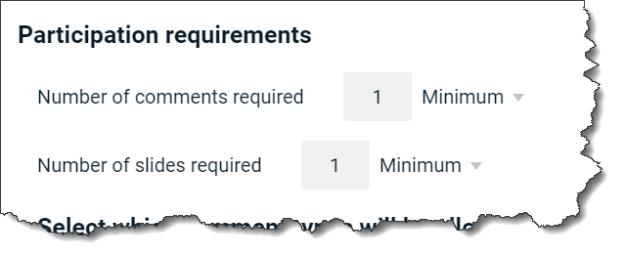 Example of minimum slides required option