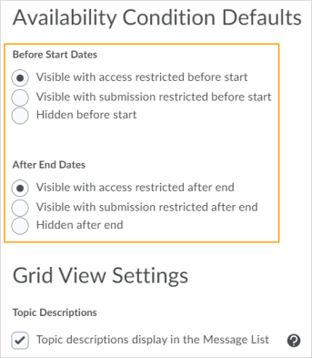 The new default options for visibility and posting restrictions in the Discussions Settings