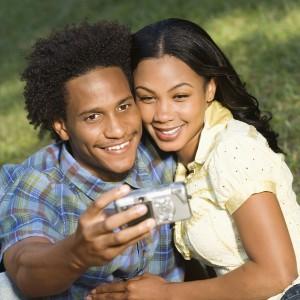 Couple taking photos.