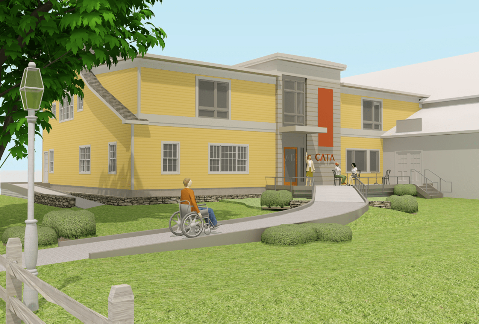 An architectural rendering of CATA's new home, showing a bright yellow, two-story building with a garden and sloped path for universal access to the building. In the image, an artist in a wheelchair moves up the path toward the building where there is a small terrace with other artists gathering.
