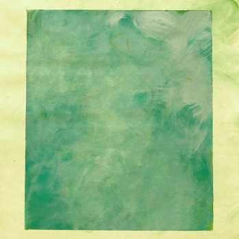 Green monochrome painting with yellow border