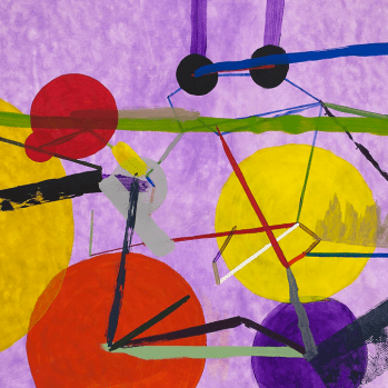 Painting: Purple, yellow, orange, and green connected lines and circles on a cloudy purple background.