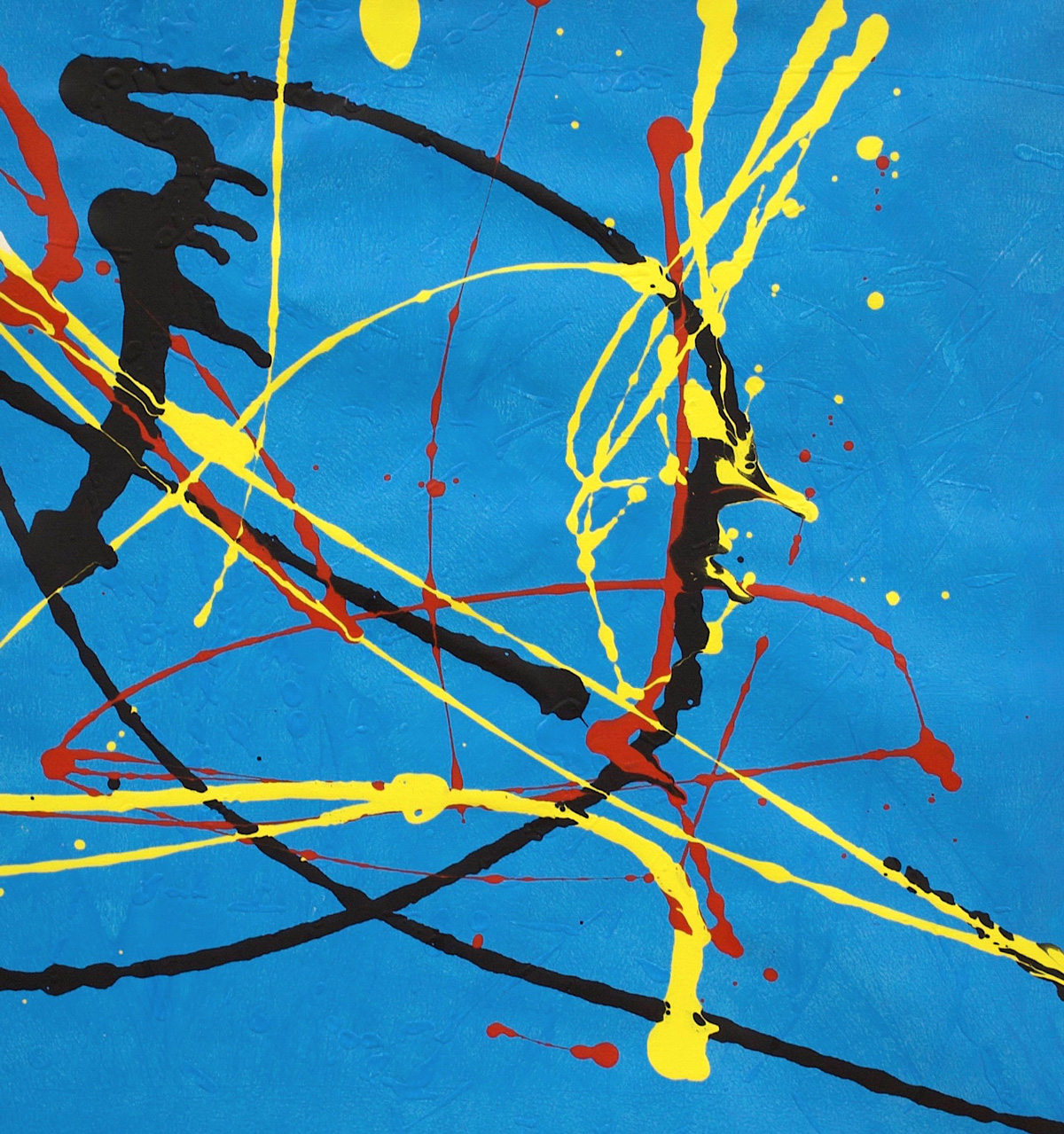 Painting: Red, black and yellow splatter on a blue background.