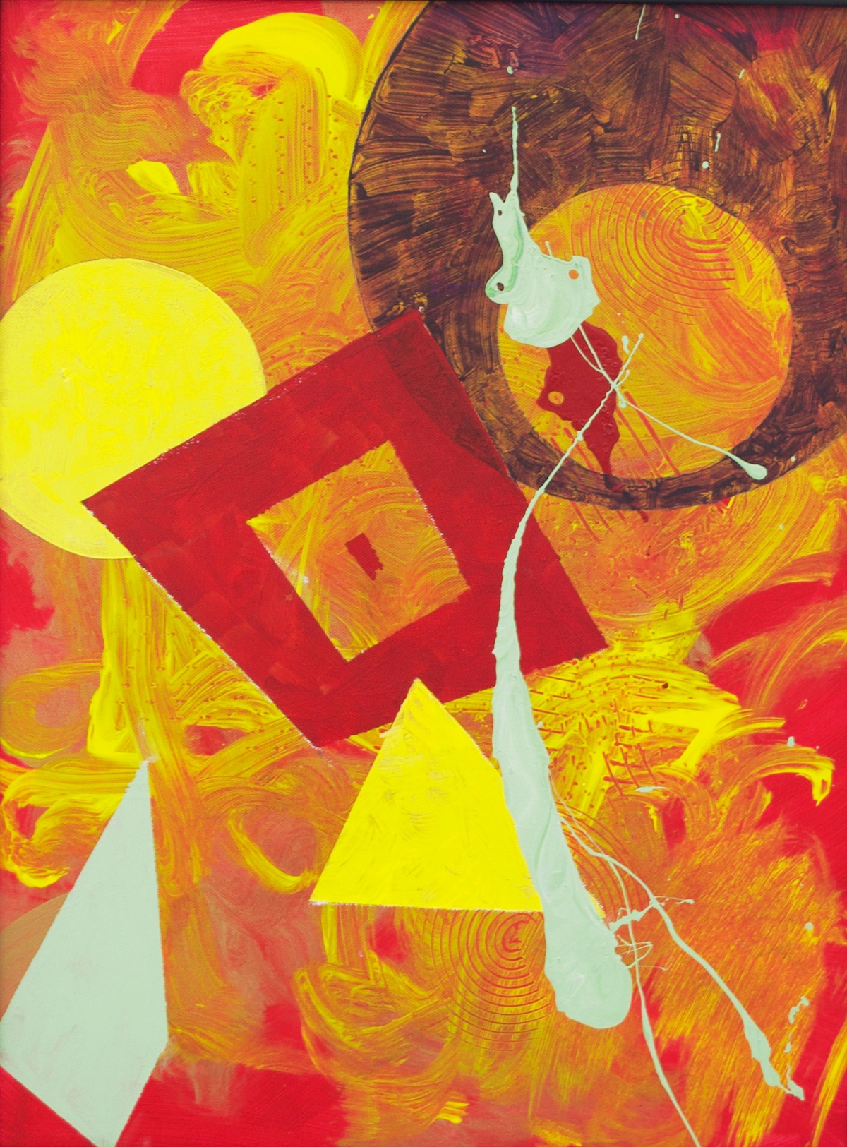 Painting: Solid red background with a thin layer of yellow, layered with red, yellow, and light green splatter on top.