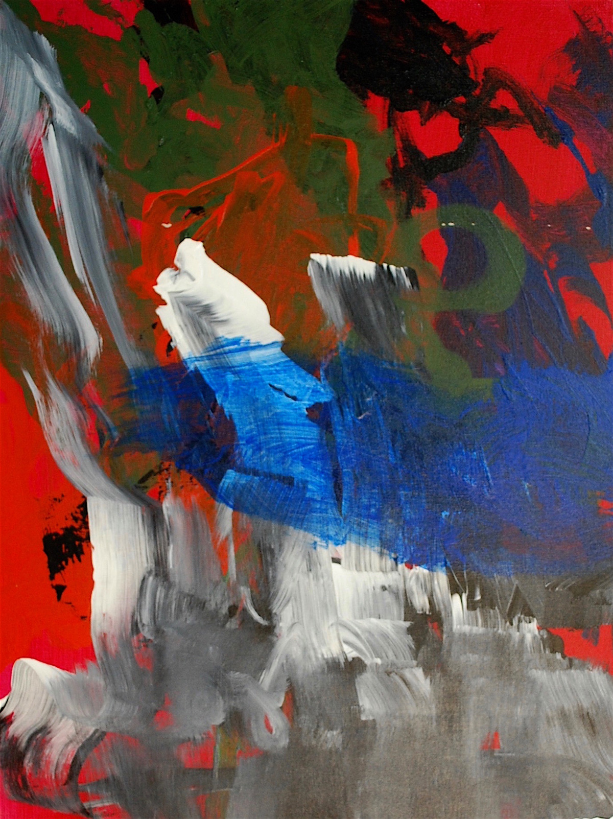Painting: Large grey, white, blue, green, and black strokes on a red background.