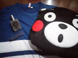 A sweater from Penshopped, Kumamon pillow & hairclip from Miniso, and Leyende perfume~