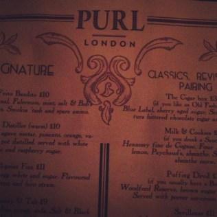 Drinks menu at Purl