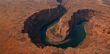 Horseshoe Bend of Colorado River, Arizona, USA. Aerial.