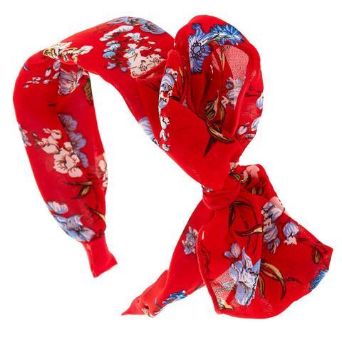 claire s large serre tete rouge a motif floral et nœud from claire s on 21 buttons