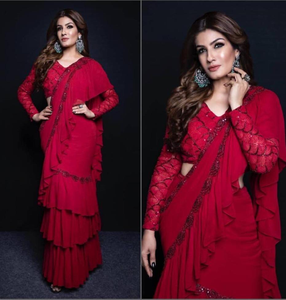 Catalog Fashion Mart Raveena Tandon Bollywood Actress Red Hot Colour Saree Buy Single Piece
