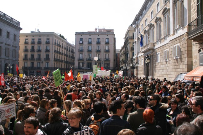Demonstration in Sant Jaume's Square