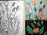 Graphite pencil, watercolour pencil & black ink.