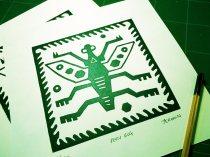 Linocut, green oil based ink.