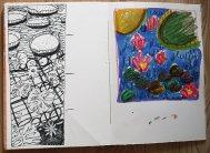 Black pen, oil pastel & ink