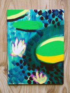 Acrylic paint & oil pastel