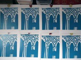 Linocut block 1 printed