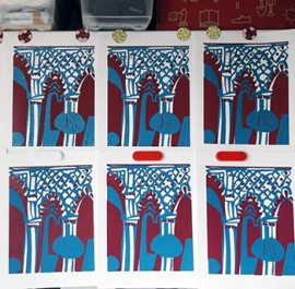 Linocut 2 blocks printed