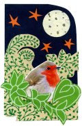 Christmas card collage, robin theme