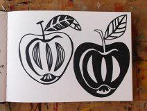 Apples, linocut design in pen © Catherine Cronin