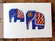 Decorative Elephant 1; pencil, felt-tip pen & highlighter pen © Catherine Cronin