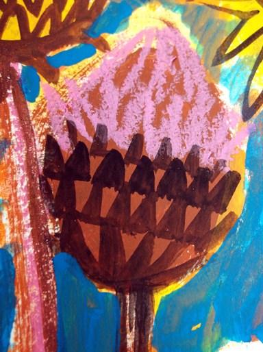 Cardoon Seedheads, gouache & oil pastel © Catherine Cronin