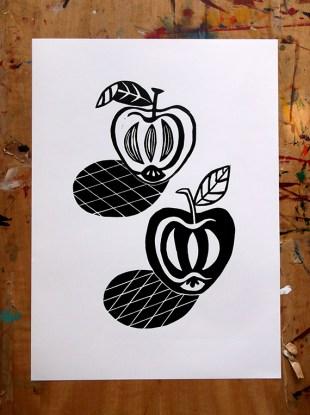 Apples linocut print © Catherine Cronin