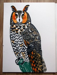 Long-eared Owl, black pen & watercolour © Catherine Cronin