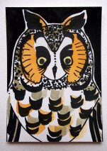 Long-eared Owl, black pen & watercolour, postcard © Catherine Cronin