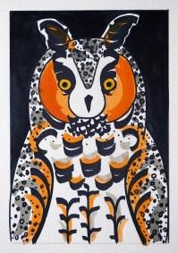 Long-eared Owl, black pen & watercolour, double-size postcard © Catherine Cronin