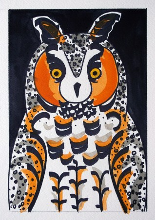 Long-eared Owl, black pen & watercolour, double-size postcard © Catherine Cronin