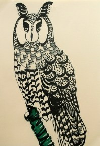 Long-eared Owl, black pen, A4 © Catherine Cronin
