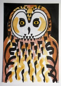 Short-eared Owl, marker pen & watercolour, postcard size © Catherine Cronin