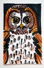 Tawny owl black pen & watercolour postcard sketch © Catherine Cronin