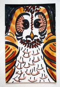 Tawny owl black pen & watercolour postcard sketch © Catherine Cronin