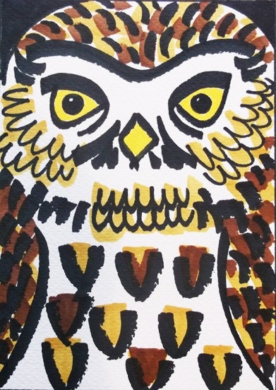 Little Owl, pen sketch, postcard © Catherine Cronin