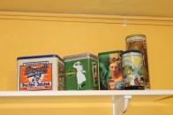 Vintage tins in kitchen