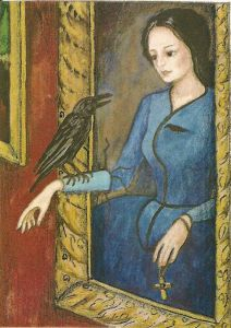 Twelve Days of Catmas - Day Twelve - A painting of a bird trying to get its fortune read by one of those cheap arcade machines.