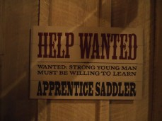 Help Wanted: Apprentice Saddler