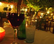 red wine at an outdoor cafe in Crete