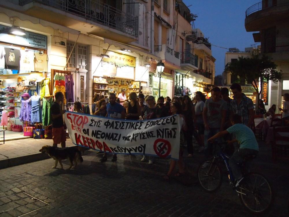 last night in rethymno, a protest, & dinner at the lemon tree garden (3/6)