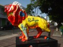 painted lion in Plaza las Delicias
