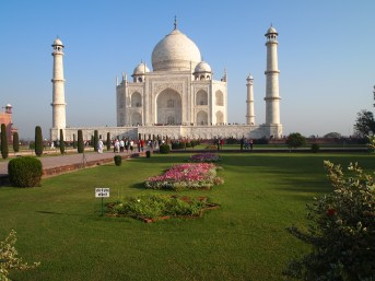 the green lawn at the Taj Mahal, Agra, India